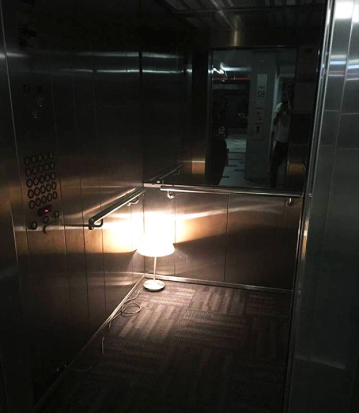 The Light In Our Building's Elevator Has Been Broken For A Few Days. Now Management's Finally