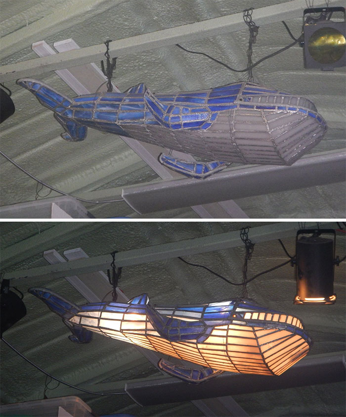 This Stain Glass Whale Light Measuring 4' Long Was Going To Be Thrown In A Dumpster